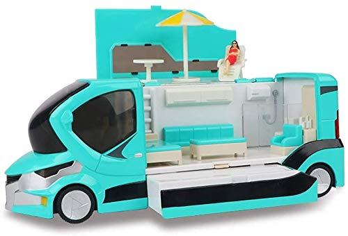 Zhangl Juguete de Regalo 1:20 RV aleación Modelo de Turismo de Vacaciones RV Metal Retroceso de Coches de Juguete de simulación de conducción de autobuses Auto-Modelo for la Infancia (Color: Rosa)