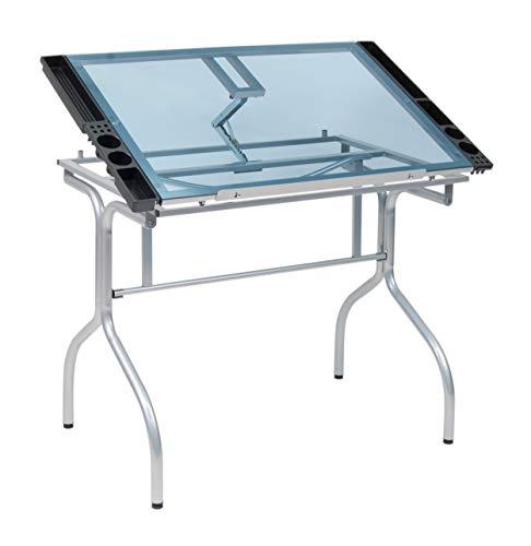 Studio Designs Folding Modern Glass Top Adjustable Drafting Table Craft Table Drawing...