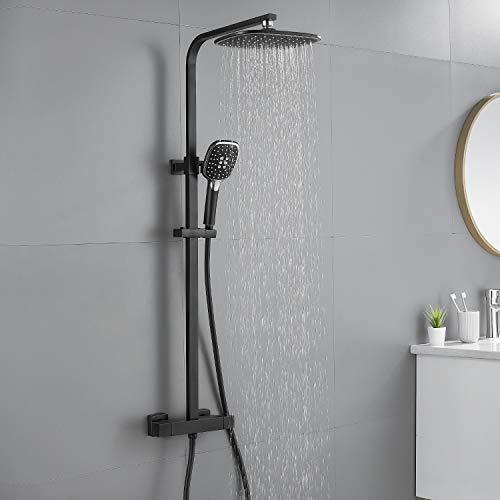 Auralum Duschsystem mit Thermostat, Duschset mit 9 Zoll Regendusche, Handbrause, verstellbarer Duschstange aus Edelstahl, schwarz