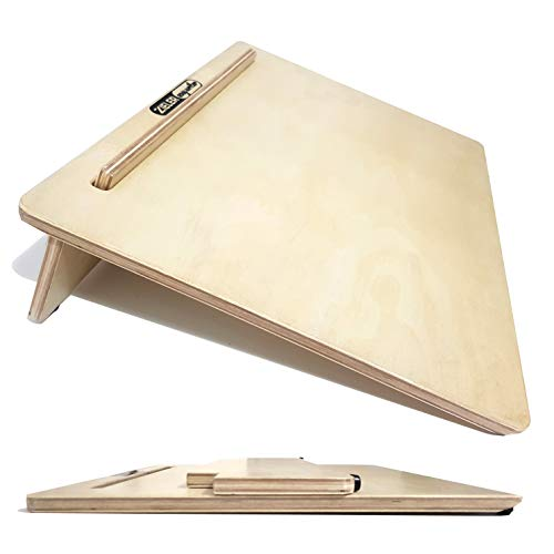 Ergonomic Writing Slope/Slant Board for Better Writing Posture - ZIELER Easywriter, Lacquered Wood Finish with 20°Degree Angle. Suitable for Left & Right-Handed use. Space Saving Design