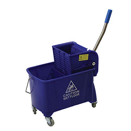 Zion 20L Small Commercial Design Blue Mop Bucket Side Press Wringer on Wheels