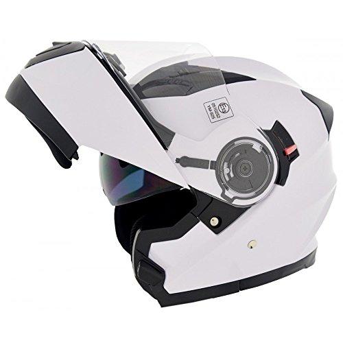 CRUIZER - Casco de moto homologado modular de color blanco con doble visera, interior desenfundable y lavable, tomas de aire en la calota y mentonera L bianco
