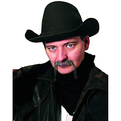 Moustache cow-boy poivre et sel postiche de cinéma Vrais cheveux [ic114 6037]