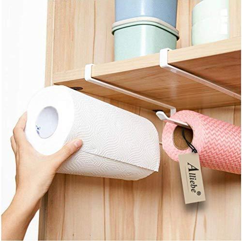 Alliebe 2pcs Rollo de papel toalla de papel titular dispensador bajo armario Rack soporte sin taladrar para cocina y baño