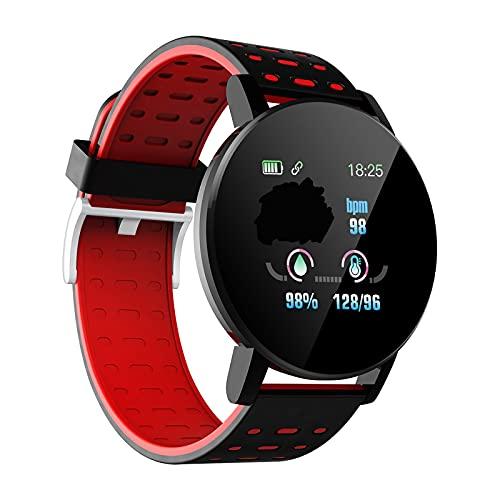 Smartwatch Herren Damen Fitness Tracker Uhr 1.3' HD 2.5D Glas Touchscreen Kompatibel Android iOS Schrittzähler Watch Pulsmesser Schlafmonitor Mehrere Sportmodi IP67 Wasserdicht Sport Armbanduhr (Rot)