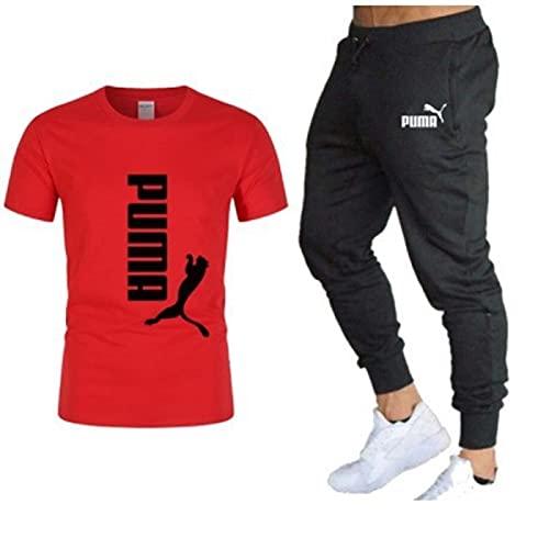 EMPERSTAR T-Shirt Sportiva da uomo a Maniche Corte traspirante Pantaloni sportivi Pantaloni da Jogging Pantaloni sportivi Oversize Casual Pantaloni da Tuta Pantaloni con Tasche Alpinismo Rojo-02 3XL