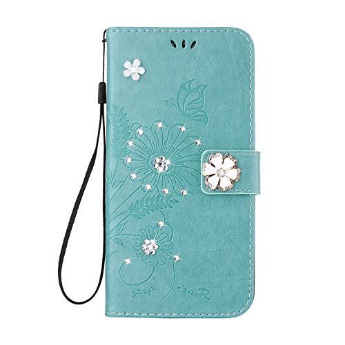 QPOLLY Cover Compatibile con Samsung Galaxy S6 Edge Flip Folio Case Brillantini Bling Diamante PU Pelle a Portafoglio Fiore e Farfalla Cover con Porta Carte Chiusura Magnetica Supporto Custodia,Verde
