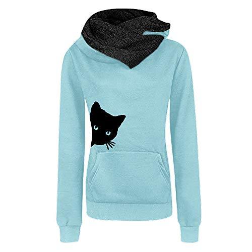 iYmitz Damen Herbst und Winter Beiläufig Hoodies Farbe Sweatshirt Reiner Blusen-Pullover(Hellblau,L)