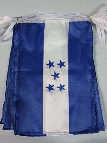 AZ FLAG Guirnalda 12 Metros 20 Banderas de Honduras 45x30cm - Bandera HONDUREÑA 30 x 45 cm - BANDERINES