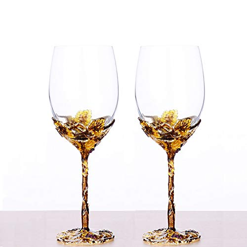 WAYDAY Cristal esmaltado en copa (2 unidades) - 400ml copa de cristal vino y licor con decoración elaborada de base - Materiales ecológicos y diseño único - Copa de vidrio artesanal de gran detalle
