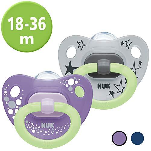 NUK Happy Nights Schnuller mit Leuchteffekt, 18-36 Monate, Silikon, 2 Stück mit Schnullerbox, Violett