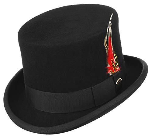 GEMVIE Sombrero de Copa Hombre Mujer Difraz Mágico Caballero Sombrero con Pluma Copa Alta Negro Circunferencia /60-62cm