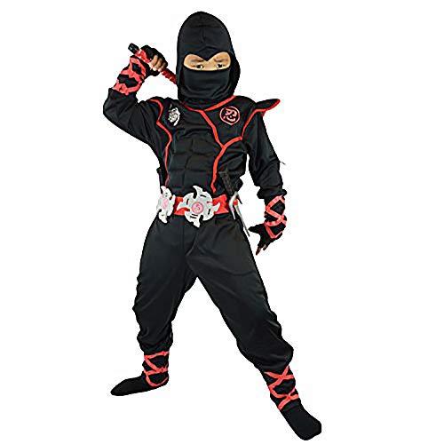 BrxeBwlurss Erwachsene Kinder Ninja Kostüm für Männer Jungen Samurai Krieger Soldat Outfit Kind Schwarz Cosplay Anziehen Kung Fu Outfit Kinderparty Spaß Kostüm Halloween Festival