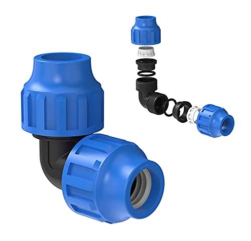 Conector en ángulo de 90 grados, ángulo de conexión de 90°, manguera de jardín, acoplamiento para tuberías de agua HDPE, tubo de 20 mm, plástico, conexión de sujeción