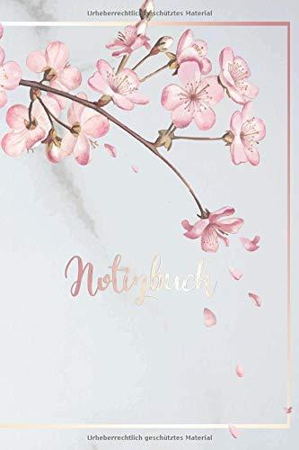 Notizbuch: DIN A5 Gepunktet / Dotted Leere 120 Seiten Reise Journal Organizer Schreibheft Planer Tagebuch Notizheft Notiz-Block Diary Heft Bullet ... Aquarell Gold Pink Rosa Magnolien Biene