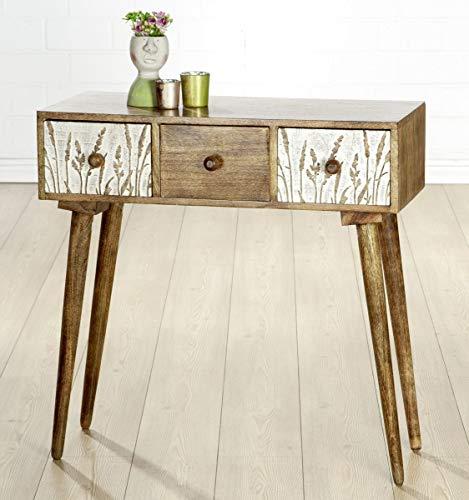 Soma Holz Sideboard Gräser (BxHxT) 80 x 79 x 0 cm weiß gewischt, Mangoholz,3 Schubladen