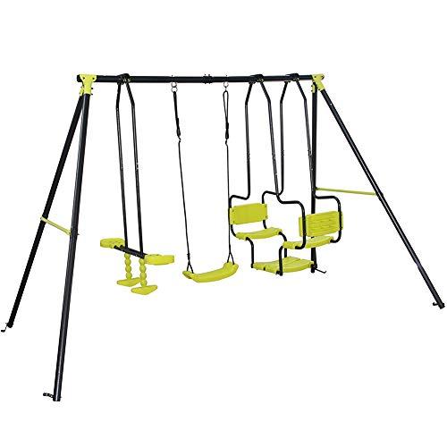 BAKAJI Altalena Dondolo per Bambini Adventure 5 posti in Ferro con sedili Dondolo Cavallino 290 x 180 x H 200 cm