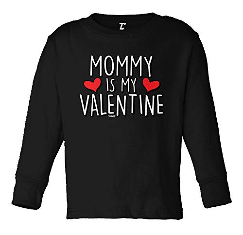 Tcombo Mommy is My Valentine - Cute Cupid Long Sleeve Toddler Cotton Jersey Shirt (Black, 2T)
