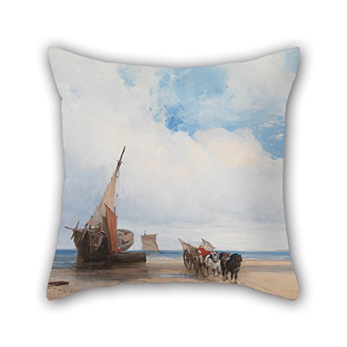 Slimmingpiggy Oil Painting Richard Parkes Bonington - Beached Vessels And A Wagon, Near Trouville, France Cushion Covers ,best For Couch,girls,kids,chair,boy Friend,home Theater 20 X 20 Inches / 50