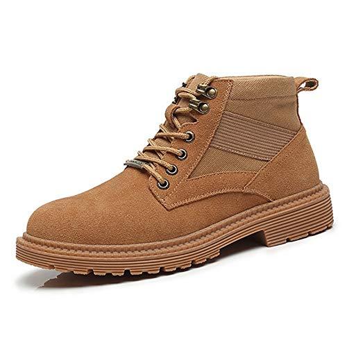 GY-HCJI Nxdj - Botas de tobillo para hombre, estilo clásico, con decoración de aleación, cordones, piel auténtica, resistente al desgaste, punta redonda antideslizante (color: negro, talla: 40 EU)