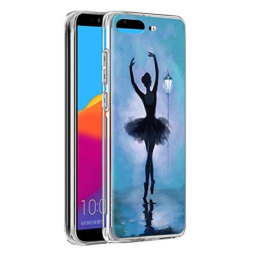 Cover Huawei Y6 2018/Honor 7A, YOEDGE Antiurto Custodia Trasparente con Disegni [Ragazza balletto] Ultra Slim Protective Case Bumper in TPU Silicone per Huawei Y6 2018/Honor 7A Smartphone(Blu)