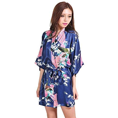 Crystallly dames zomer nachthemd simulatie zijde een stuk kimono losse badpak eenvoudige stijl gebreide jas Robe Peacock Short badjas Cuiyan Home Mode comfortabel pyjama