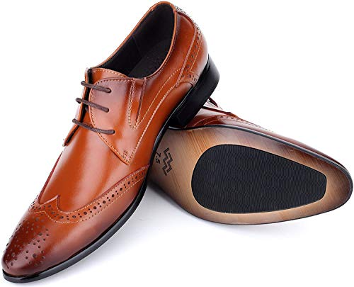 Mio Marino Mens Dress Shoes Oxford - Wingtip Loafers - Monk Strap Leather Shoes For Men, in a Shoe Bag - Umber size-8