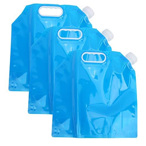 Alomejor Paquete de 3 contenedores de Agua para Beber de 5L, Bolsa de Agua Plegable para Exteriores, contenedor de Transporte de Agua para Coche para Acampar
