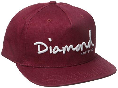 Diamond Supply Co. Men's Og Script Snapback, Burgundy, One-Size