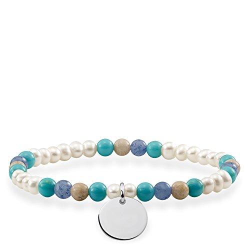 THOMAS SABO Damen-Armband Love Bridge Dumortier Gravurscheibe 925 Silber Perle weiß Jasper Türkis 15.5 cm - LBA0112-200-7-L15,5