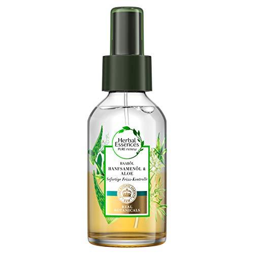 Herbal Essences PURE: renew Sofortige Frizz-Kontrolle Haaröl, 100 ml, mit Hanfsamenöl und Aloe Vera, Haarpflege Glanz, Haarpflege Trockenes Haar, Ohne Silikon, Aloe Vera Haare, Hanfsamenöl Haare