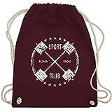 Fitness & Workout - Sport Pump Iron Club - Unisize - Bordeauxrot - WM110 - Turnbeutel und...