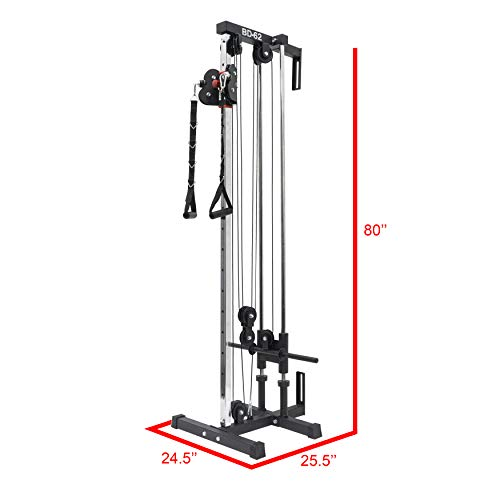 Valor Fitness BD-62 Wall Mount Cable Station with Adjustable Dual Pulley System and Strap Handles for Functional Home Gym