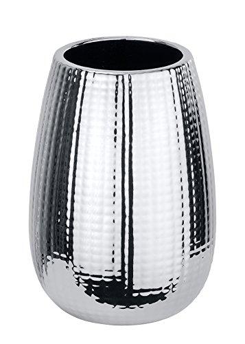 WENKO Zahnputzbecher Dakar - Zahnbürstenhalter für Zahnbürste und Zahnpasta, Keramik, 8.3 x 11.6 x 8.3 cm, Chrom
