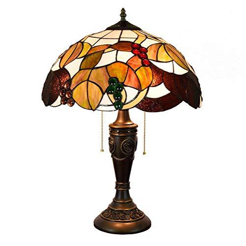SHENLIJUAN 40CM manchado hojas de vidrio Lámpara de mesa muertas y uvas manchado pantalla de vidrio sala de estar de la lámpara lámpara de cabecera