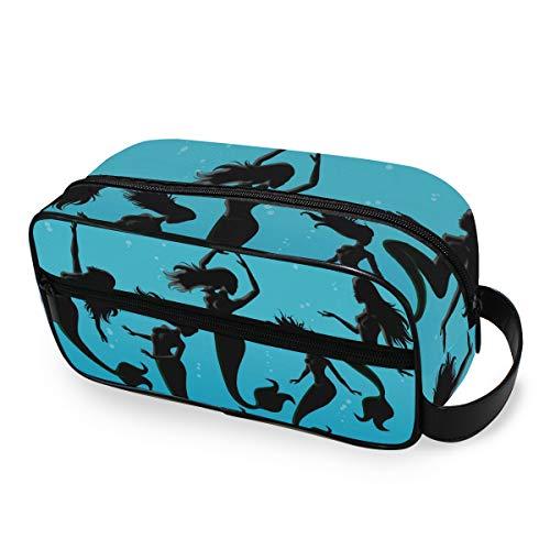 Stockage Outils De Voyage Cosmétique Train Case Ombre Noir Art Sirène Pose Mode Portable Trousse De Toilette Maquillage Sac