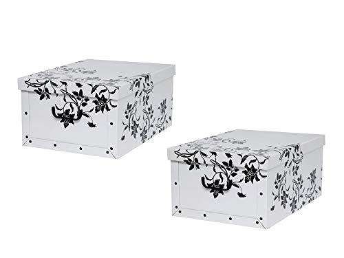 """Kreher Set 2 Stück Deko Karton """"Barock Blumen"""".Stabile Kartons aus Pappe in Weiß mit schwarzer Blumenranke. XL Volumen mit Kunststoff Griffen und Deckel. Preiswert und schön. Maße ca. 51 x 37 x 24 cm"""