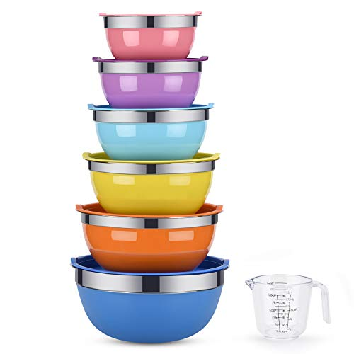 Mixing Bowls, Weiyudang 6 piece Salad Bowl Stainless Steel Basin Metal Bowls Set With Colorful Lids – Set Includes 2, 2.5, 3, 4, 5.5, 7Quart, Measuring Cup as a Gift