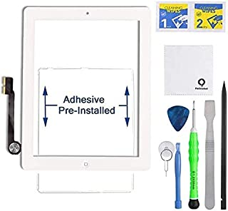 Fixcracked Touch Screen Replacement Parts Digitizer Glass Assembly for ipad 3 + Professional Tool Kit (white)
