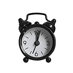 Nmch 3 Mini Non-Ticking Vintage Classic Analog Alarm Clock with Backlight, Battery Operated Travel Clock, Loud Twin Bell Alarm Clock for Kids(Black)