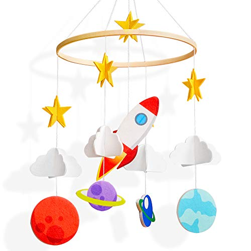 Basumee Baby Crib Mobile,Planet Crib Mobile Hanger Handmade Mobile Nursery Decor Movable Star Rocket Baby Mobile Felt Hanging Accessory for Baby Room