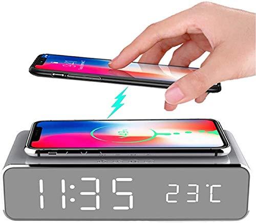 YOOXI Reloj Despertador Inteligente LED, Reloj Despertador Digital con Cargador inalámbrico, Reloj Despertador LED de Escritorio con termómetro y Hora, Cargador inalámbrico con certificación,Plata
