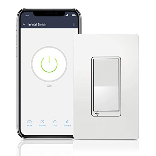 TOPGREENER Smart Wi-Fi Switch, Control Lighting from Anywhere, in-Wall, Single Pole or 3-Way, No Hub Required, Works with Amazon Alexa and Google Assistant, TGWF15S, White