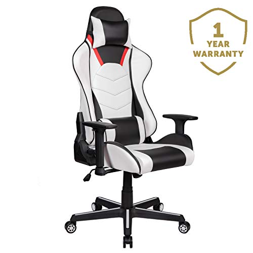 Merax Gaming Chair Computer Home Desk Chair Racing Comfy Office Chair Ergonomic High Back Reclining Executive Chair Comfortable for Gamers Teens/Adult/Kids (Black&Cotton White: Max 245lbs)