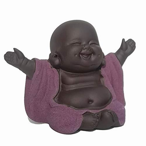Carefree Fish Small Ceramic Laughing Buddha Statue Little Monk Figurine Baby Buda Home Decor Desk Decoration