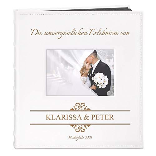 Murrano Fotoalbum zum Selbstgestalten mit Bildausschnitt + mit Gravur - für 240 Fotos im Format 10x15-60 Schwarze Seiten - Größe 33x30cm - Weiß - Geschenk zur Hochzeit zum Hochzeitstag - Erlebnisse