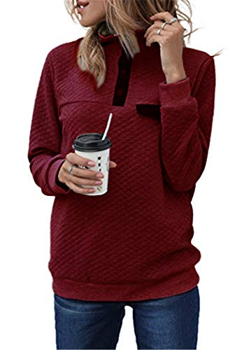 AIMICO Women Fashional V Neck Button Quilted Pattern Sweater Long Sleeve Sweatshirts Pullover Wine Red Small