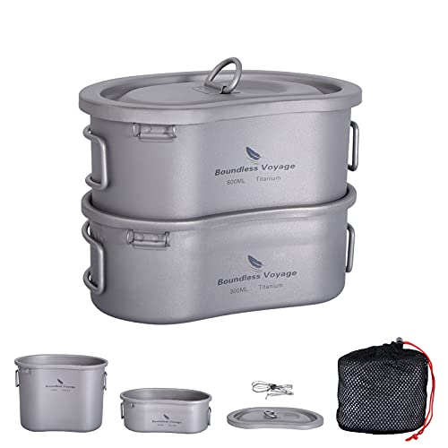 Boundless Voyage Titanium Canteen Mess Kit with Lid and Folding Handle...