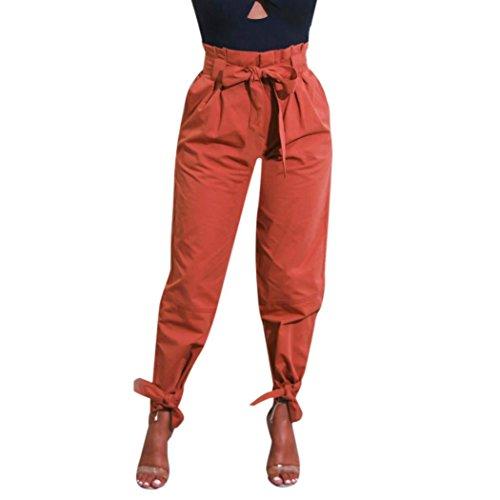 TUDUZ Damen Hosen Elegant High Waist Stretch Skinny Hosen Pants Casual Streetwear Pants Hosen mit Tunnelzug (Braun, L)