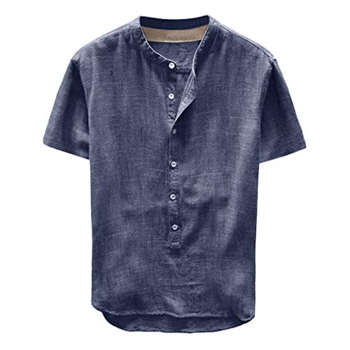 F_Gotal Men's Linen Shirts Short Sleeve Beach Tee Shirt Button Up Tops Cotton Lightweight Plain Mandarin Collar Blouses Navy